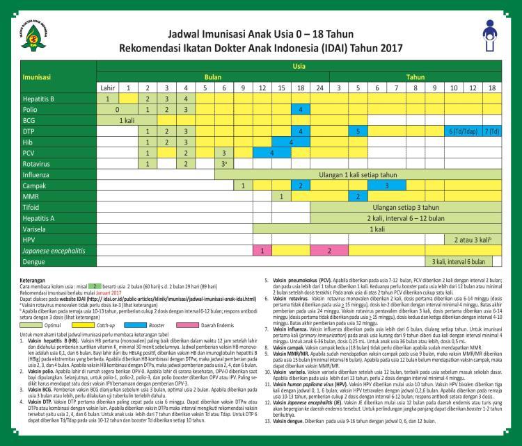 Jadwal imuniasai IDAI 2017